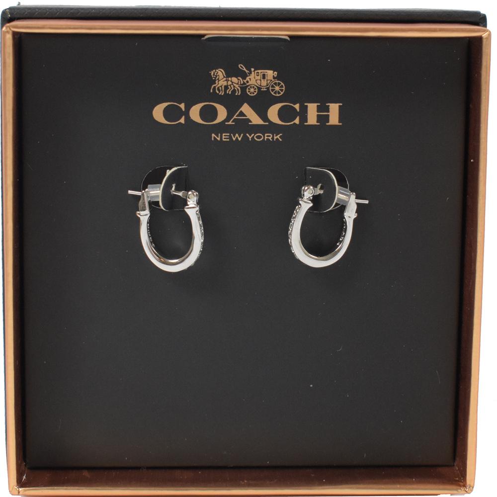 COACH 經典LOGO鑲水鑽耳環(銀)