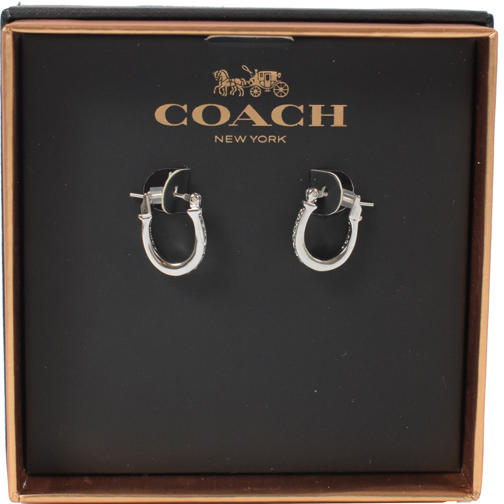 COACH 經典LOGO鑲水鑽耳環(銀)COACH