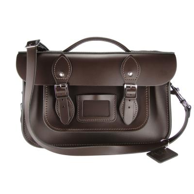 The Leather Satchel 英國手工牛皮劍橋包 肩背手提包 可可黑 12.5吋