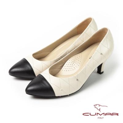 CUMAR時尚經典異材拼接菱格紋高跟鞋米