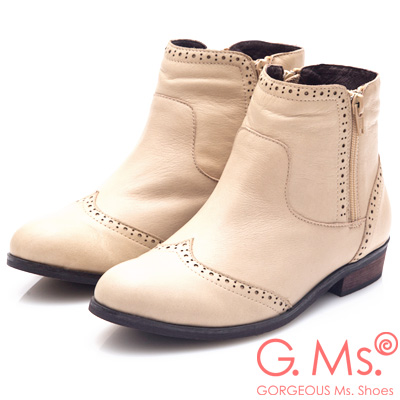 G.Ms. 全真皮牛津雕花拉鍊平底短靴-杏米