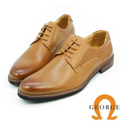 GEORGE 喬治-歐風型男鞋頭刷色素面綁帶紳士皮鞋-棕色