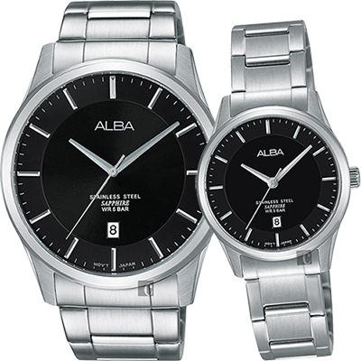ALBA 城市簡約時尚對錶(AS9C93X1+AH7M21X1)-黑/40+28mm