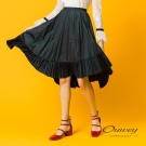 OUWEY歐薇 都會簡約圓展裙(黑/綠)