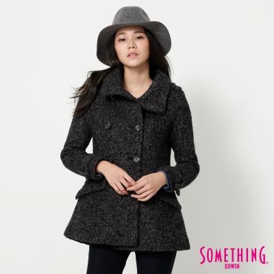 SOMETHING-毛呢都會時尚雙排釦外套-女-黑色