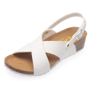 Joy Walker 交叉寬帶楔型涼鞋*白色