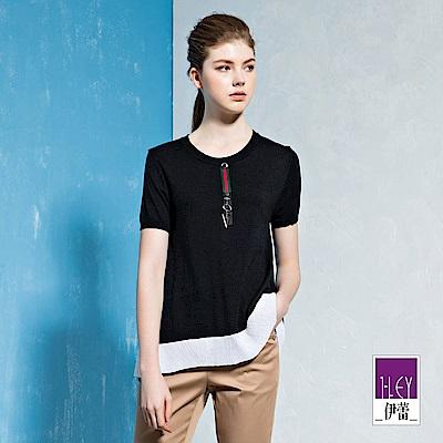 ILEY伊蕾 寬襬配色圓領針織上衣(黑)