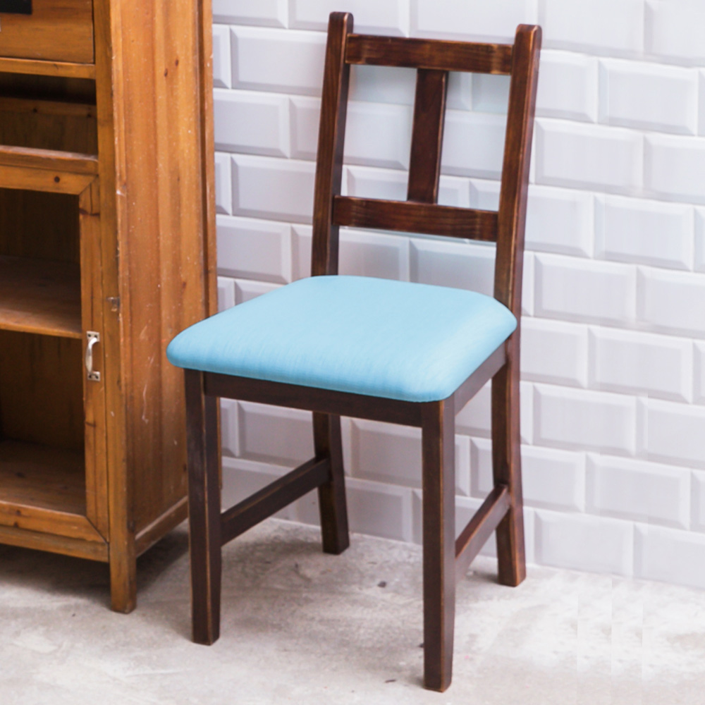 CiS自然行實木家具- 南法實木餐椅(焦糖色)湖水藍椅墊