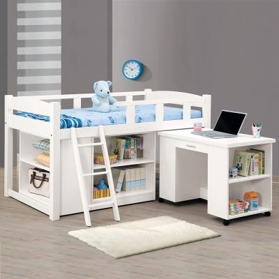 Bernice-潘妮3.8尺多功能組合床架-含書桌、收納櫃(兩色)
