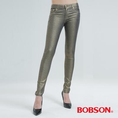 BOBSON 金銀色緊身小直筒牛仔褲(香檳金)