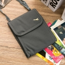 DF Queenin - 韓版隨身旅行斜背式護照包證件包-灰色