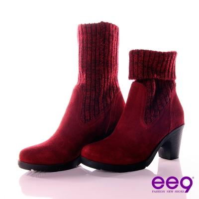 ee9 法式摩登~2WAY毛呢襪套反褶設計中筒靴 ~嗆辣紅