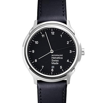 MONDAINE 瑞士國鐵Helvetica 聯名腕錶-黑/40mm