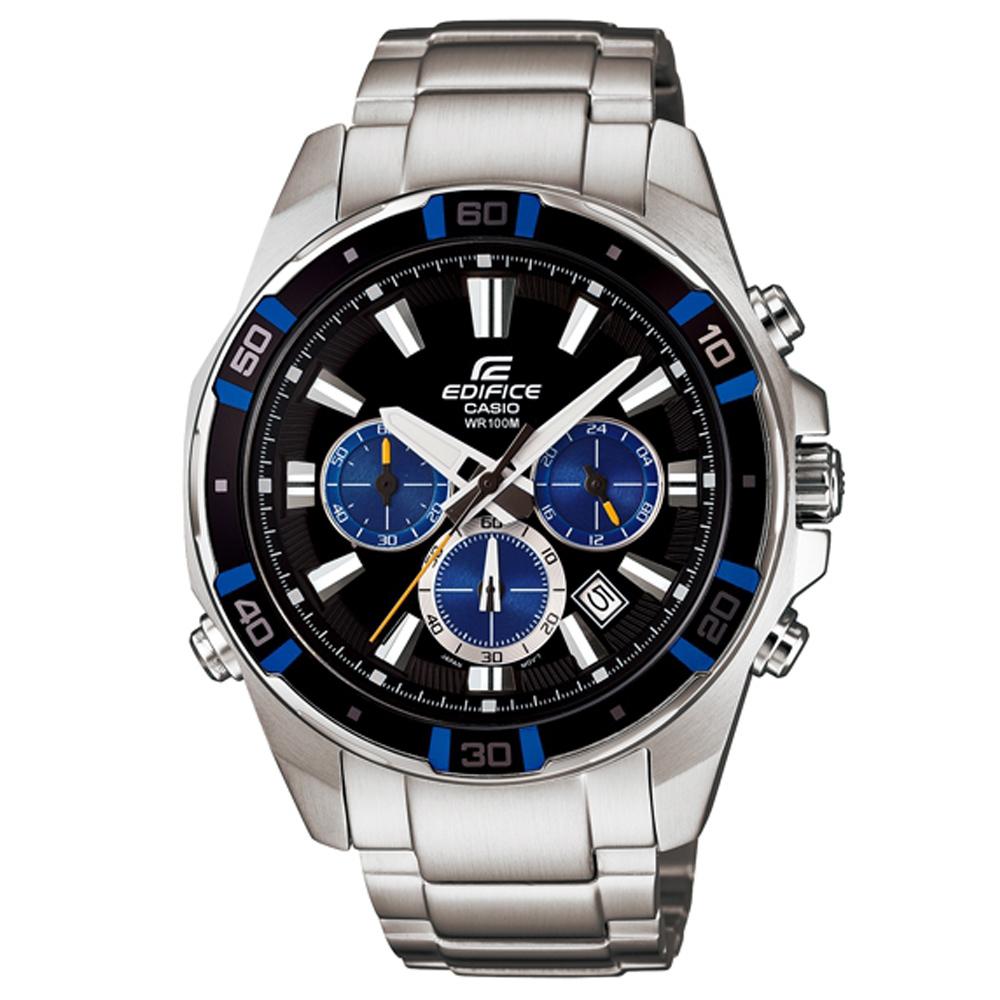 EDIFICE 經典三眼設計LED計時腕錶(EFR-534D-1A2)-黑面x藍圈/46mm