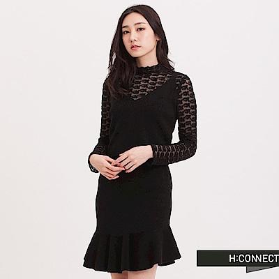 H:CONNECT 韓國品牌 女裝 - 純色繡花蕾絲上衣 - 黑