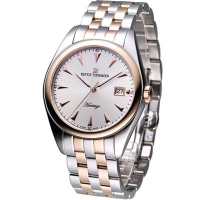 REVUE THOMMEN 紐約都會紳士機械錶-銀白x雙色錶帶/41mm