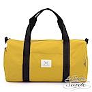 La Poche Secrete 率性自在休閒帆布圓筒手提側斜背旅行袋-芥末黃