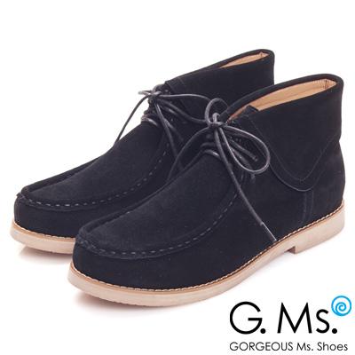 G.Ms. MIT系列-反摺牛麂皮高筒袋鼠鞋-品味黑