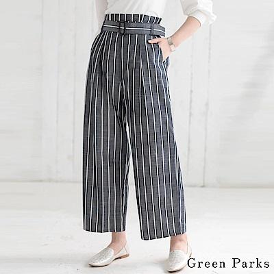 Green Parks 氣質條紋寬褲-附腰帶