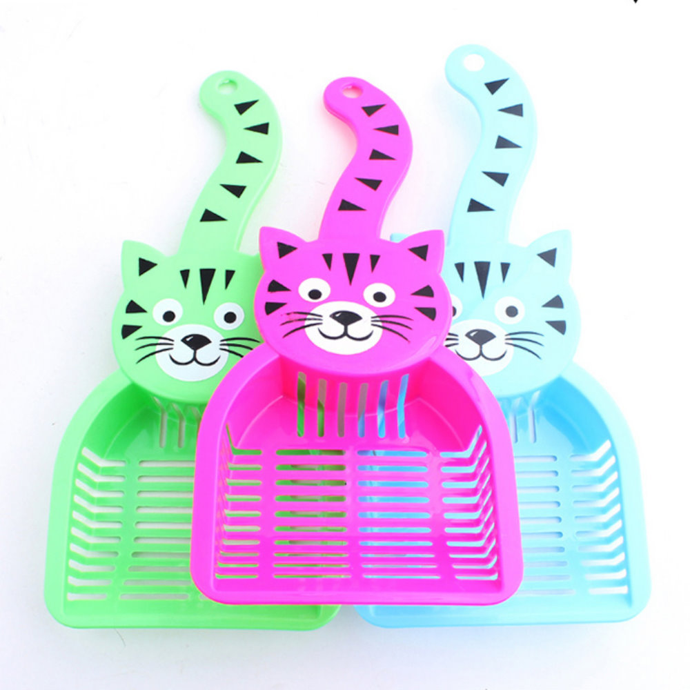 寵喵樂 可愛貓頭加厚型貓砂鏟《藍》
