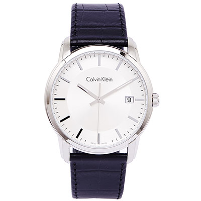 CK 時尚典藏男性皮帶手錶(K5S311C6)-銀面X黑/42mm