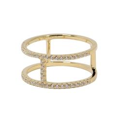 apm MONACO法國精品珠寶 閃耀金色色鑲鋯戒指