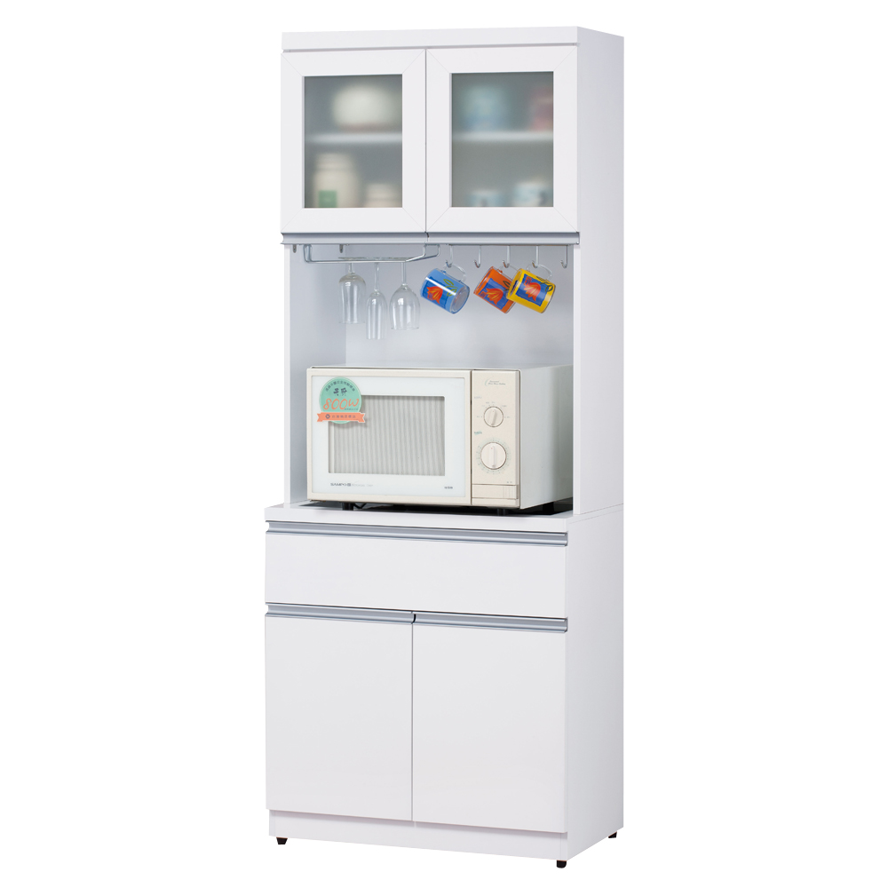 時尚屋素娜白色3尺碗盤櫃組