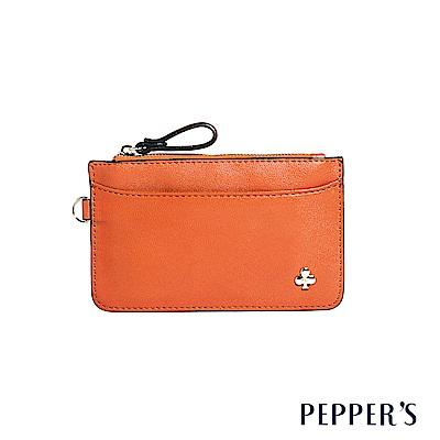 PEPPER`S Ellie 羊皮鑰匙卡夾包 - 暖陽橘