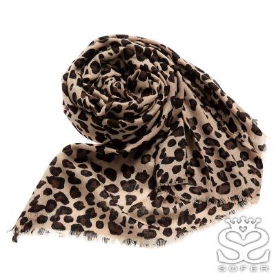 SOFER-經典豹紋100-純羊毛保暖圍巾-唯美咖