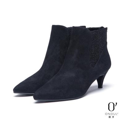 達芙妮x高圓圓-圓漾系列-短靴-絨布金蔥拼接尖頭中跟踝靴-黑8H