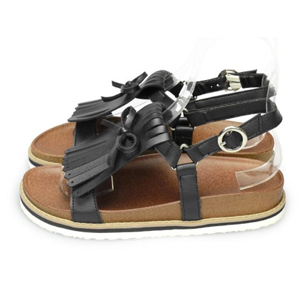 FUFA MIT 流蘇造型涼鞋 (FL13)-黑色
