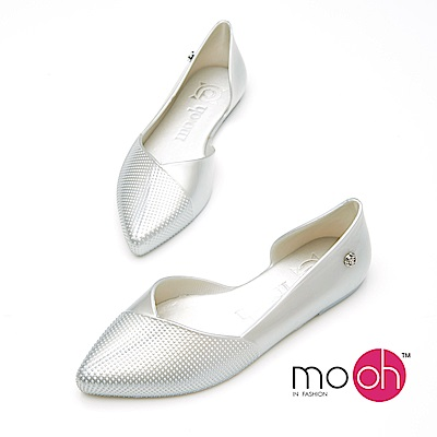 mo.oh-尖頭防水平底香水娃娃鞋-銀色