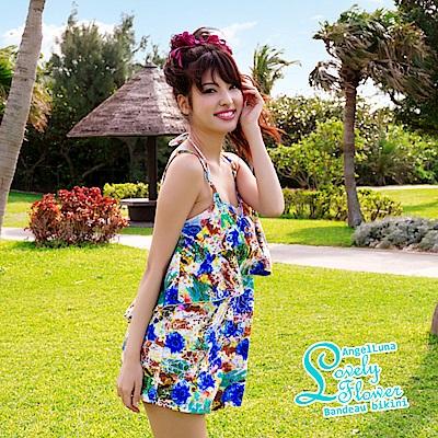 【AngelLuna日本泳裝】印花平口三件式比基尼泳衣-藍色連身裙