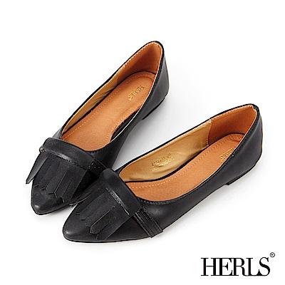 HERLS 內真皮 睫毛流蘇尖頭樂福鞋-黑色
