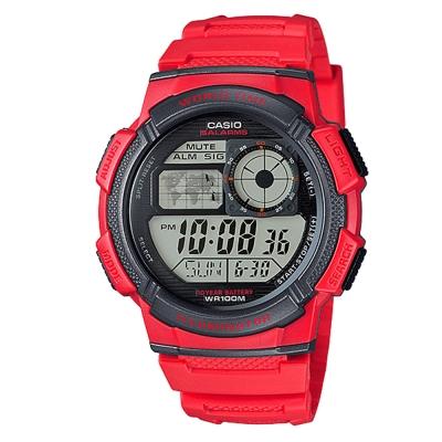 CASIO世界之城電子數位膠帶錶AE-1000W-4A-紅色43.7mm