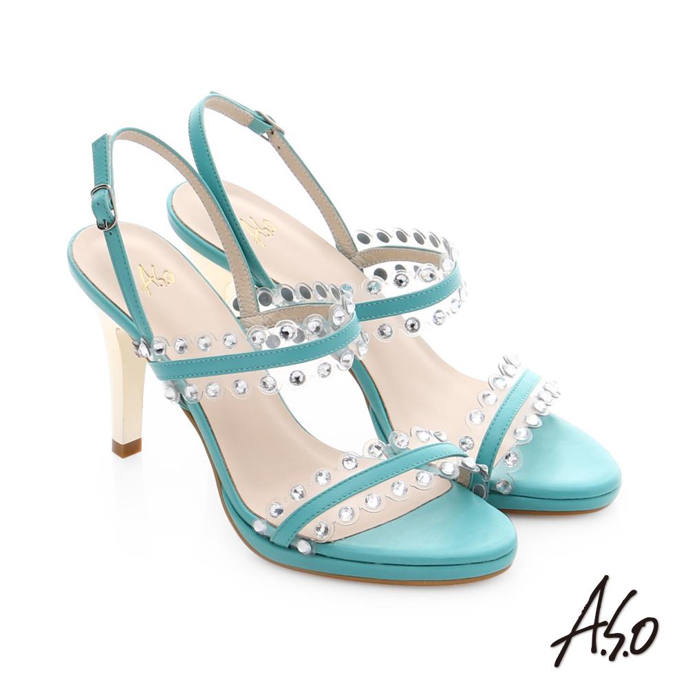 A.S.O 星光注目 璀璨水鑽飾釦高跟涼鞋 綠色