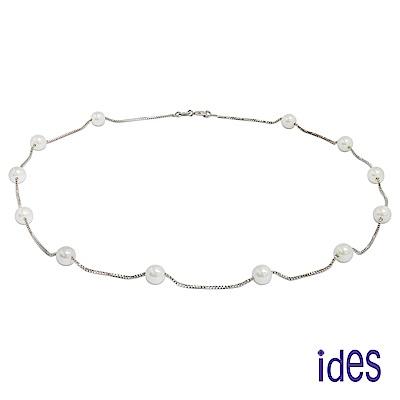 ides愛蒂思 時尚淡水貝珠項鍊/白色6mm/珍珠情