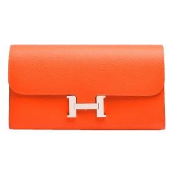 HERMES 經典CONSTANCE系列EPSON牛皮金屬H LOGO手拿長夾(橘)