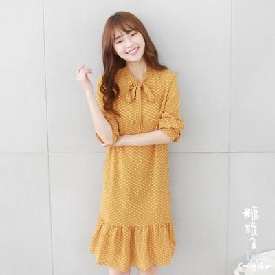 糖罐子-幾何綁結領荷葉裙洋裝-黃