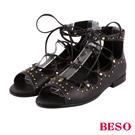 BESO 歐美率性 金色鉚釘羅馬綁帶涼鞋~黑