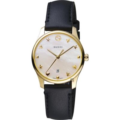 GUCCI古馳 G~Timeless 海洋超薄女錶~珍珠貝x黑色錶帶 28mm