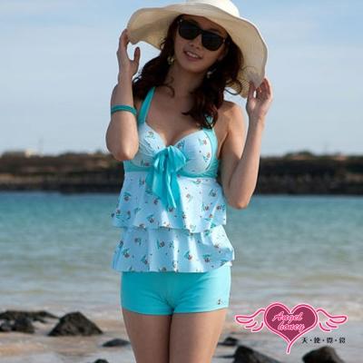 天使霓裳 夏日花朵 兩件式鋼圈泳衣(淺藍M)