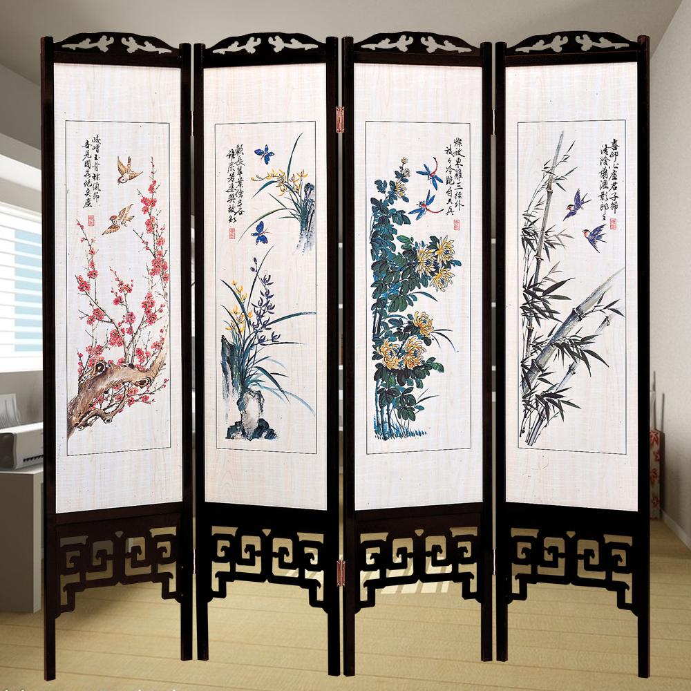 時尚屋 中國風國畫四季花彩色6尺雙面屏風 寬182cm 多色可選