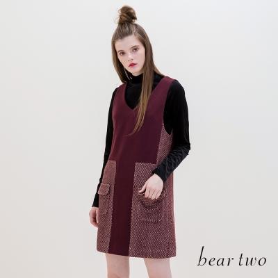 beartwo V領造型口袋異質拼接背心裙(二色)