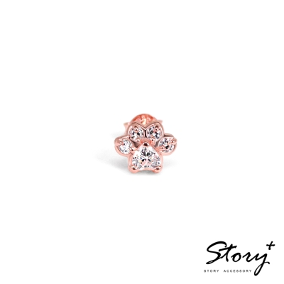 STORY故事銀飾-Pets系列-可愛肉球造型款耳環-玫瑰金白鑽(單只)