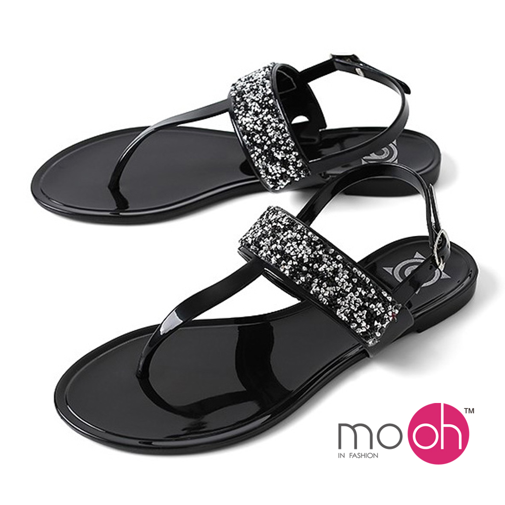 mo.oh-水鑽閃耀香味果凍防水夾腳涼鞋-黑