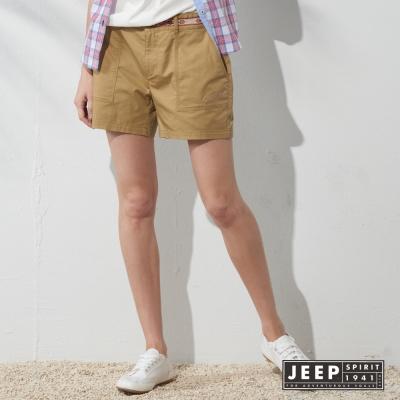 JEEP 女裝 民族風織花腰帶造型休閒短褲 (卡其色)