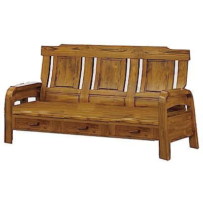 品家居-米魯柏木實三人收納椅-188x70x101