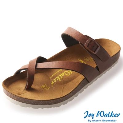 Joy Walker 素面交叉帶夾腳涼鞋* 咖啡色