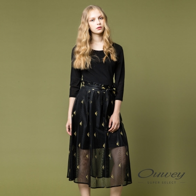 OUWEY歐薇 優雅飄逸兩件式洋裝(黑)